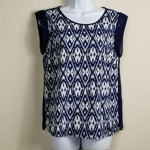 WGB by walter baker ikat / sheer back blouse
